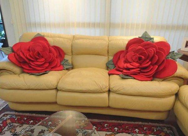 Декоративные подушки своими руками розы