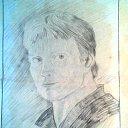 Автопортрет карандашом. Рисовал себя в зеркало маленькое в 1977г.